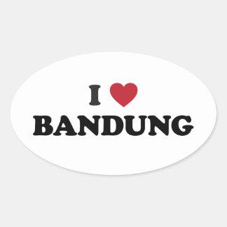 I Love Bandung Indonesia Oval Sticker