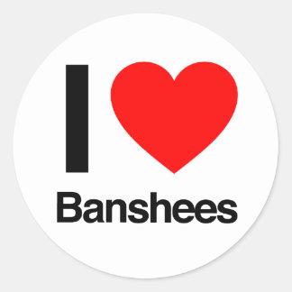 i love banshees round sticker