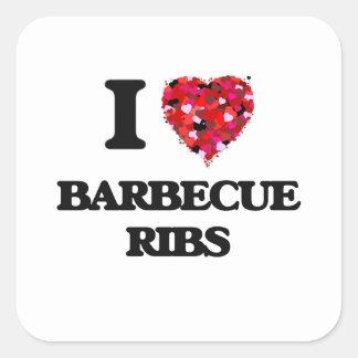 I love Barbecue Ribs Square Sticker