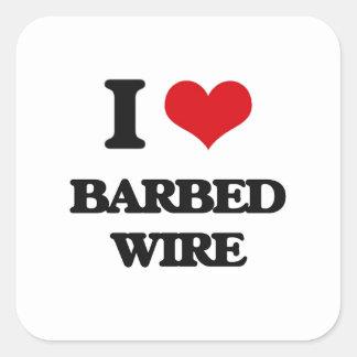 I Love Barbed Wire Square Sticker