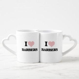 I love Barbers (Heart made from words) Lovers Mug