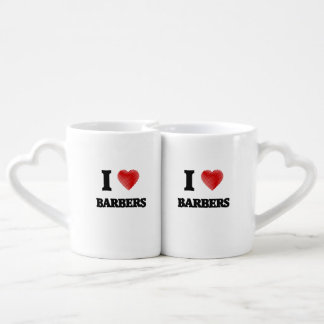 I love Barbers (Heart made from words) Lovers Mug Sets