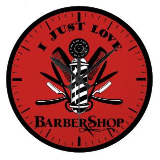 I Love Barbershop Large Clock