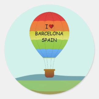 """I Love Barcelona, Spain"" Hot Air Balloon Classic Round Sticker"