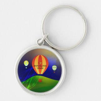 I Love Barcelona Spain Hot Air Balloon Key Ring
