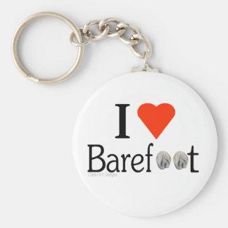 I Love Barefoot hooves keyring Basic Round Button Key Ring