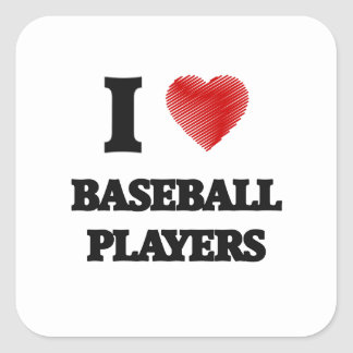 I love Baseball Players (Heart made from words) Square Sticker