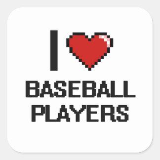 I love Baseball Players Square Sticker