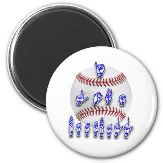 I Love Baseball - Sign language 6 Cm Round Magnet