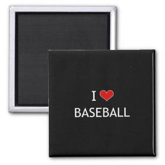 I Love Baseball Square Magnet
