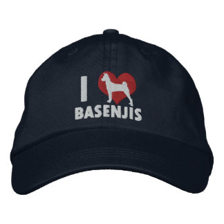I Love Basenjis Embroidered Hat (Dark)