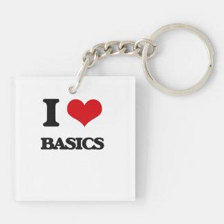 I Love Basics Square Acrylic Keychain