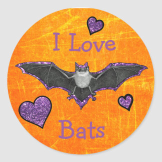 I Love Bats Stickers for Halloween