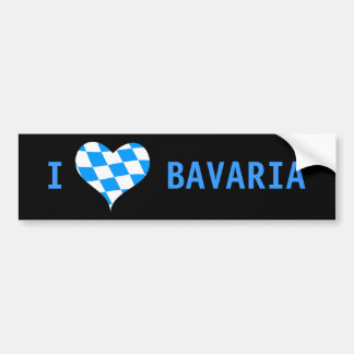 I Love Bavaria, clear, modern bumper sticker