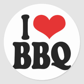 I Love BBQ Classic Round Sticker