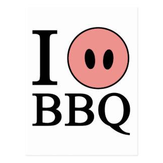 I Love BBQ Postcard