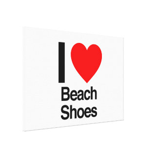 i love beach shoes stretched canvas prints