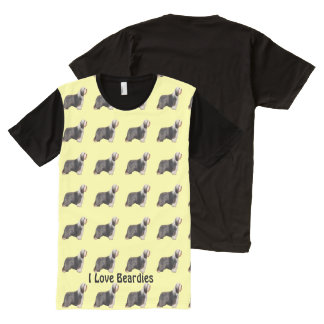 I Love Beardies with Yellow All-Over Print T-Shirt