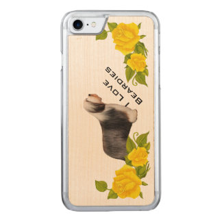 I Love Beardies with Yellow Roses Carved iPhone 7 Case