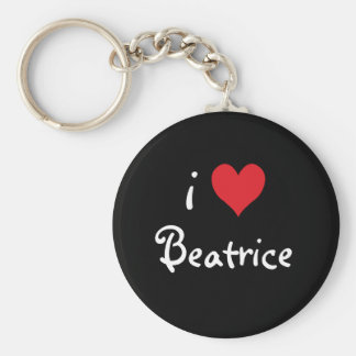 I Love Beatrice Basic Round Button Key Ring