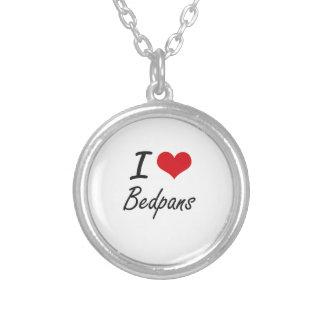 I Love Bedpans Artistic Design Round Pendant Necklace