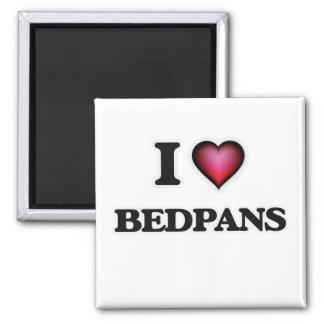 I Love Bedpans Square Magnet