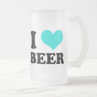 I Love Beer 16 Oz Frosted Glass Beer Mug