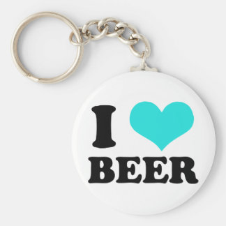 I Love Beer Basic Round Button Key Ring
