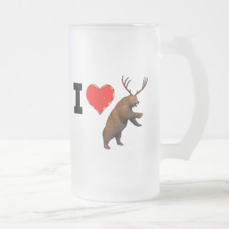 I Love Beer Frosted Glass Beer Mug