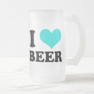 I Love Beer Frosted Glass Mug