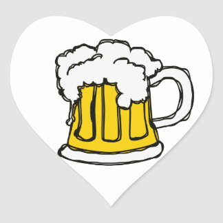 I love BEER! Frothy Pint of Brew Heart Sticker