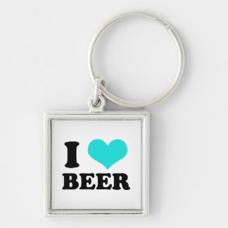I Love Beer Silver-Colored Square Key Ring