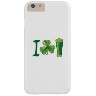 I Love Beer St. Patrick's Day Shamrocks Funny Barely There iPhone 6 Plus Case