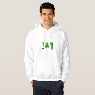 I Love Beer St. Patrick's Day Shamrocks Funny Hoodie