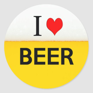i love beer texture beverage alcohol drink heart round sticker