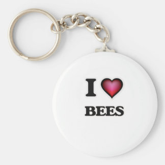 I Love Bees Basic Round Button Key Ring