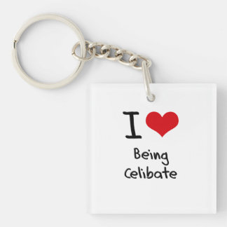 I love Being Celibate Single-Sided Square Acrylic Key Ring