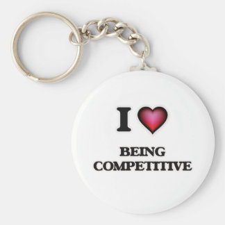 I love Being Competitive Basic Round Button Key Ring