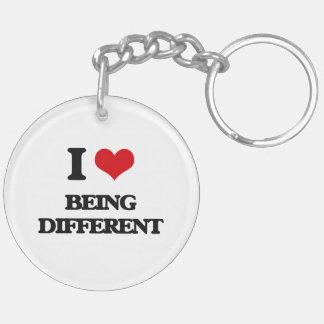 I Love Being Different Keychain