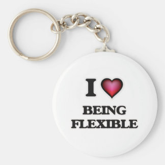 I Love Being Flexible Basic Round Button Key Ring