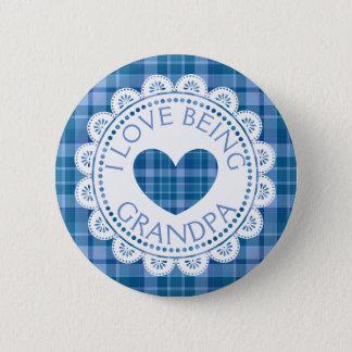 I Love Being Grandpa Blue Plaid Button