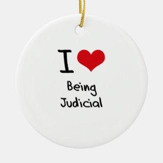 I love Being Judicial Round Ceramic Decoration