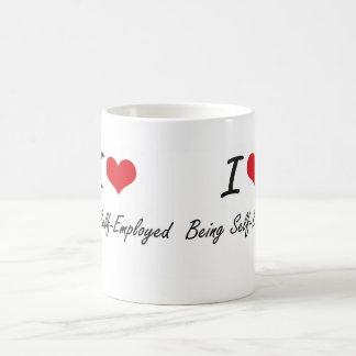 I Love Being Self-Employed Artistic Design Basic White Mug