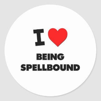 I love Being Spellbound Round Stickers