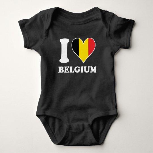 I Love Belgium Belgian Flag Heart Baby Bodysuit