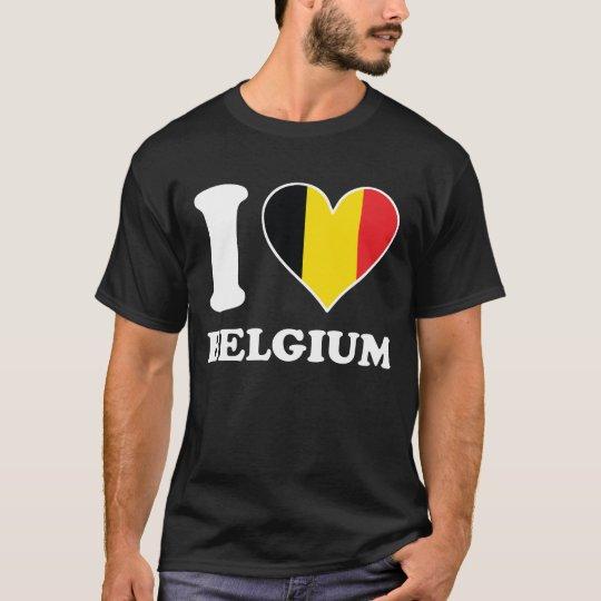 I Love Belgium Belgian Flag Heart T-Shirt