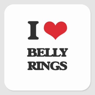 I love Belly Rings Square Sticker