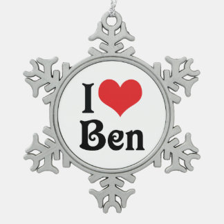 I Love Ben Snowflake Pewter Christmas Ornament