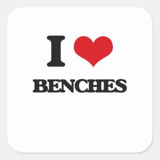 I Love Benches Square Sticker