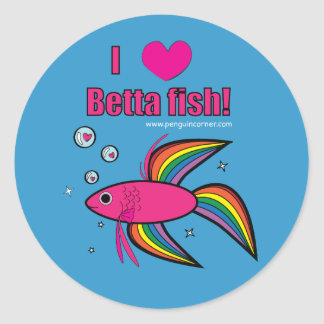 I Love Betta Fish! Classic Round Sticker